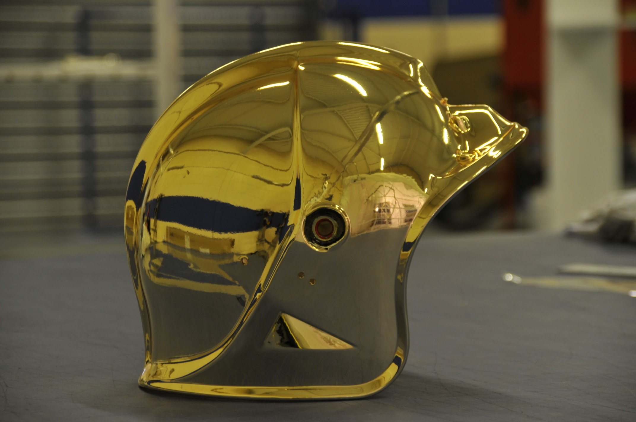 24k gold plating on a helmet