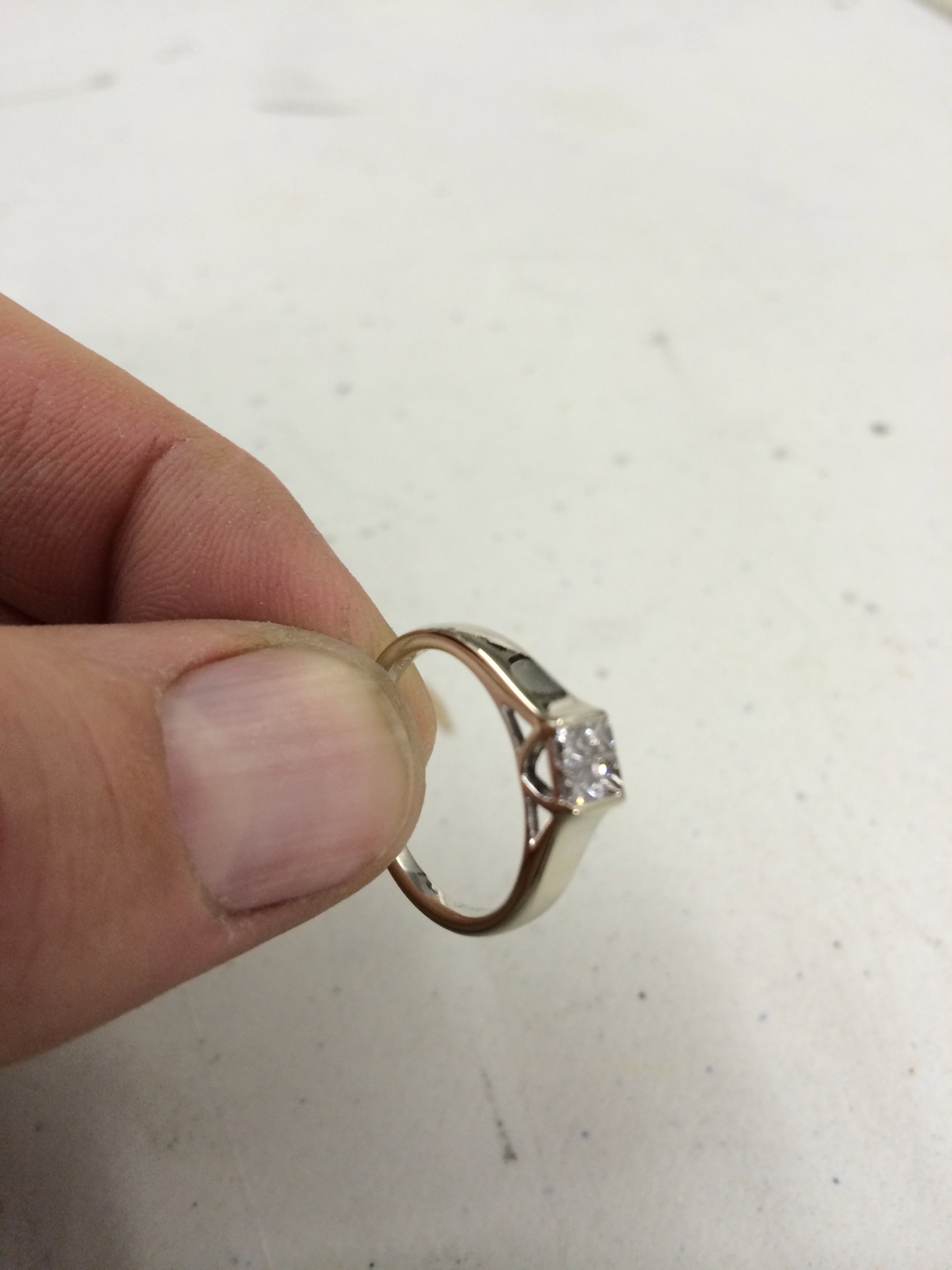 diamond ring rhodium plating