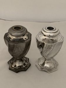 Silver plating a pair of oil lamps
