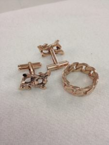 Jewellery plating services - rose gold plated cufflinks and ring